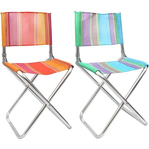 com-four® 2X klappbarer Regiestuhl aus leichtem Aluminium, in tollen Farben, ideal für Camping, Angeln, Outdoor etc. (02 Stück - Mix2) -