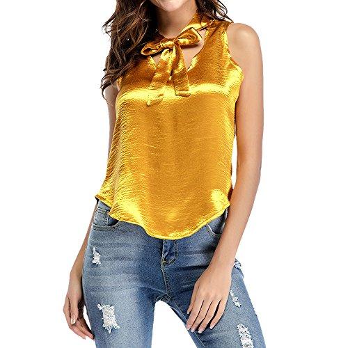 Dihope Femme Printemps Été T-shirt Slim Fit avec Nœud sans Manches Tee-shirt Casual Haut Top Loisir Mode Jaune