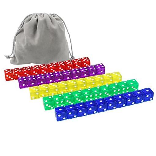 Whonline-50-Stck-Wrfel-16mm-rechter-Winkel-klar-6-Seitige-Wrfel-5-Farben-mit-5-Stck-Flannelbeutel-und-1-Stck-grer-Flanneltasche