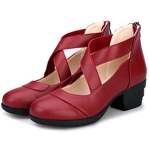 Oasap Women's Round Toe Cross Strap Back Zip Dance Shoes white