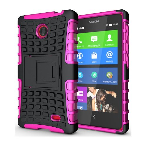 Heartly Flip Kick Stand Hard Dual Armor Hybrid Bumper Back Case Cover For Nokia X X+ Dual Sim Plus Android A110 - Pink  available at amazon for Rs.369