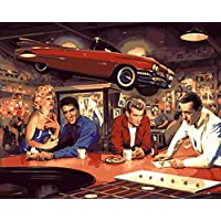BPAINTF Painting by Numbers Diy Car Bar for Men and Women Figure Drawing on Canvas Paintings for Modern Home Wedding Decor Gift 60X75cm DIY FRAMED