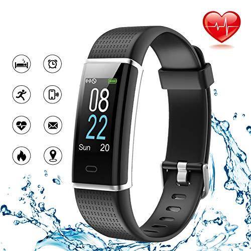 Lintelek Fitness Armband Wasserdicht IP68 Fitness Tracker mit Pulsmesser 0,96 Zoll Farbdisplay Fitness Uhr Armband Uhr Aktivitätstracker GPS Schrittzähler Uhr fur Damen Herren (Farbe Schwarz)