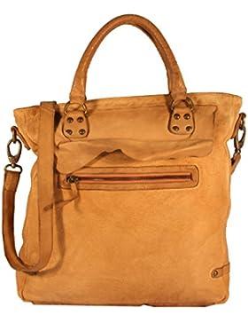 Massenza - Henkeltasche Shopper HochFormat Baumwolle Canvas mit Leder URBAN BAG Damen Schultertaschen Handtaschen...