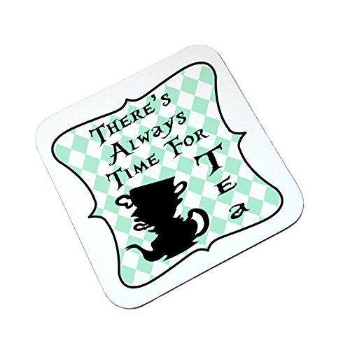 alice-in-wonderland-theres-always-time-for-tea-high-gloss-square-wooden-coaster