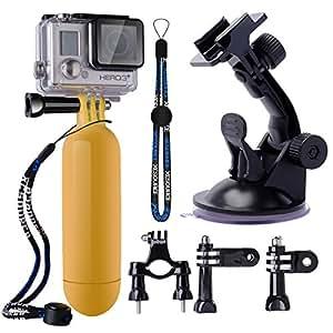 XCSOURCE® Paquet Set Kit 9 en 1 fixation pour Guidon + ventouse + Poignée de fixation flottante + Courroie (sangle) + 2 x joins + 3 x Vis pour GoPro Hero 1 2 3 3 + appareil photo OS58