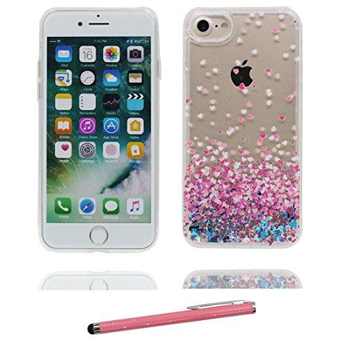 """iPhone 7 Plus Coque, iPhone 7 Plus étui Cover 5.5"""", Bling Bling Glitter Fluide Liquide Sparkles Sables, iPhone 7 Plus Case, Shell anti- chocs et stylet # 1"""