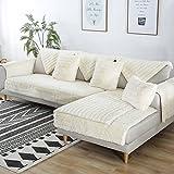 FDJKGFHGFCGDFGDG Volle Deckung schonbezug Sofa,Winter Anti-rutsch plüsch sofabezug Rückenlehne zu Decken Moderne schlichtheit Couch abdeckungen Sofabezug für Wohnzimmer -Weiß 110x210cm(43x83inch)