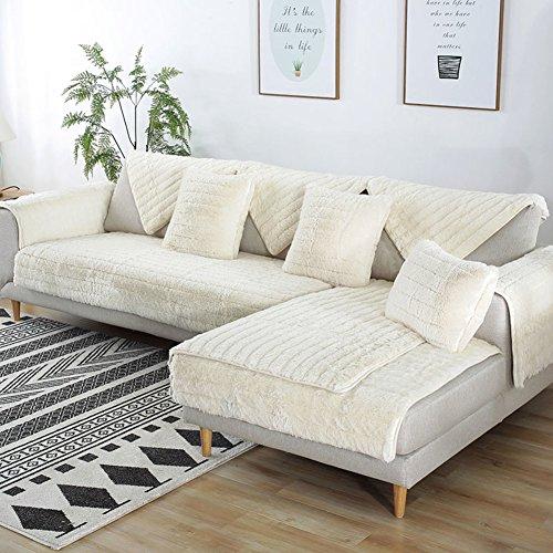 FDJKGFHGFCGDFGDG Volle Deckung schonbezug Sofa,Winter Anti-rutsch plüsch sofabezug Rückenlehne zu Decken Moderne schlichtheit Couch abdeckungen Sofabezug für Wohnzimmer -Weiß 70x180cm(28x71inch)