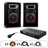 PA Komplettset 'DJ-10' Karaoke PA-Anlage Verstärker 1000 Watt Lautsprecher-Boxen Set (inkl....