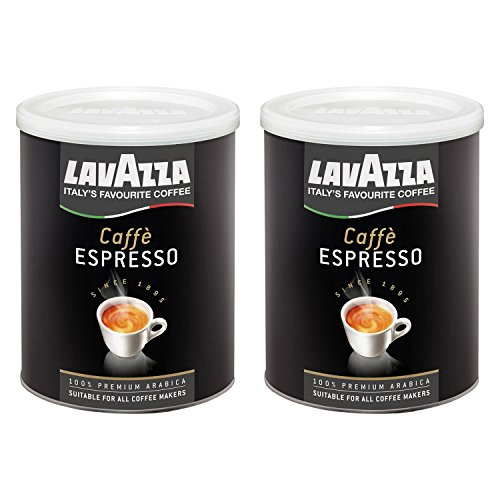 Lavazza Kaffee Espresso 100% Arabica, gemahlener Bohnenkaffee in Dose, (2 x 250g Packung)