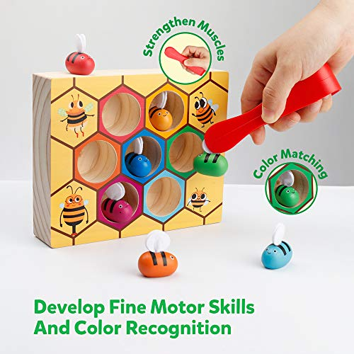 Coogam Toddler Fine Motor Skill Toy, Clamp Bee to Hive Matching Game, Montessori Wooden Color Sorting Puzzle, Early Learning Preschool Educational Gift Toy for 2 3 4 Years Old Kids