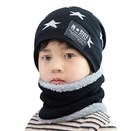 Jungen Mädchen Winter Mütze Hut Schal Set Warme Dicke Beanie Strickmütze Earflap Hut Schlauchschal Ski Schädel Cap mit Fleece Futter für 4-12 Jahre,EINWEG Verpackung ()