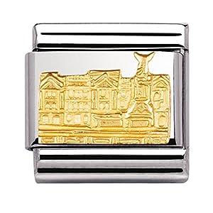 Nomination Composable Classic Symbole G.B. Relief Stahl und Gold 18k (Buckingham Palace) 030144