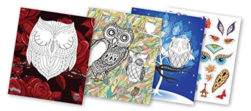 QuackDuck Malbuch Owl Art - Color with glitter stickers - Kunst mit Eulen - Malen und Schneiden mit...