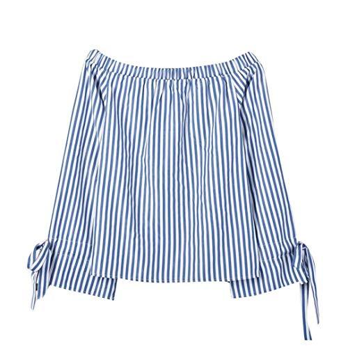 ABsoar Blusen Damen Streifen Pullover Frauen Hemd Langarm Shirts Tunika Schulterfrei Oberteile Lässiges Pulli Sweatshirt Übergröße T-Shirt S~5XL