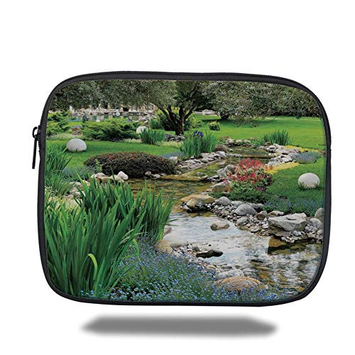 Tablet Bag for Ipad air 2/3/4/mini 9.7 inch,Country Decor,Garden and Pond in Asian Flowing Stream Wild Flowers Bushes Stones Landscape,Bag