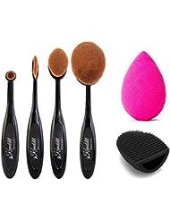 Kanddit 4Pcs/Set Makeup Toothbrush Shape Oval Makeup Brushes Set Foundation Contour Powder Eyebrow Blush Eyeshadow Brush Set