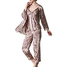 Mujer Pijamas Set Satin Camisones Pijamas Satén Manga Larga Pantalones Largos