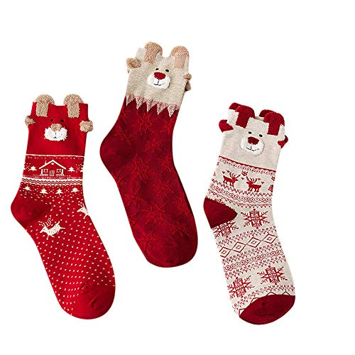TEBAISE 3 Paar Unisex Socken aus Baumwolle Thermal Socken Erwachsene Unisex Socken Frauen Socken Damen Socken Mädchen Socken Lässige Socken Weihnachten Karneval Fasching