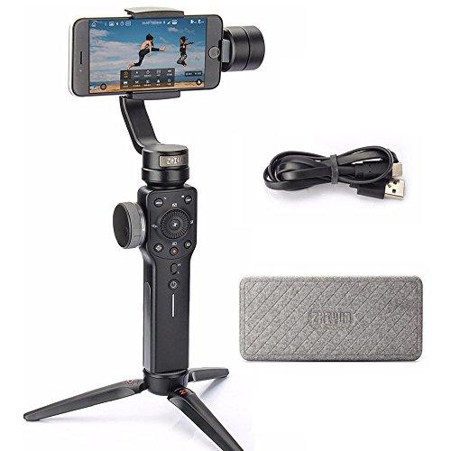 Zhiyun Smooth 4 Smartphone Stabilizer 3-Achsen Handheld Gimbal mit Focus Pull &Zoom Capability für iPhone Samsung Mobile Phone (Schwarz) (Edge Folding Clip)