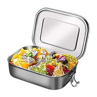 Aiskki Lunchbox Edelstahl 1400ml, Auslaufsicher Brotdose mit Herausnehmbarer Trennwand, Eco Bento-Boxen Metall, Kinderleicht zu Reinigen, Tragbar Hitzebeständig Große Kapazität Lunchpot