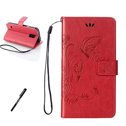 Tifightgo Samsung Galaxy S5 Mini Leder Hülle,Rot Schmetterling Blumen Prägung Ledertasche Kartenfach Standfunktion Leder Klapphülle Handyhülle Schutzhülle Flip Brieftasche für Samsung Galaxy S5 Mini