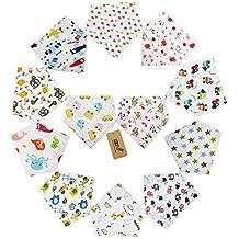 iZiv(TM) Baberos del Bebé - Paquete de 12 Diseños Pañuelo con Snaps Ajustables, Forro Suave para niño 0-2 años