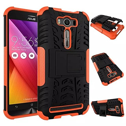 YHUISEN Hyun Pattern Dual Layer Hybrid Armor Case Abnehmbar Kickstand 2 In 1 Shockproof Tough Rugged Case Cover für Asus Zenfone 2 Laser ZE500KL (5,0 Zoll) ( Color : Orange ) Orange