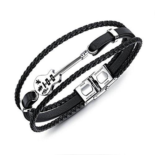 Bishilin Schmuck Leder Armband Männer Multilayer Gitarre Edelstahl Schließe Freundschaftsarmband Schwarz Länge 210MM (Gitarre Weißes Lederarmband)