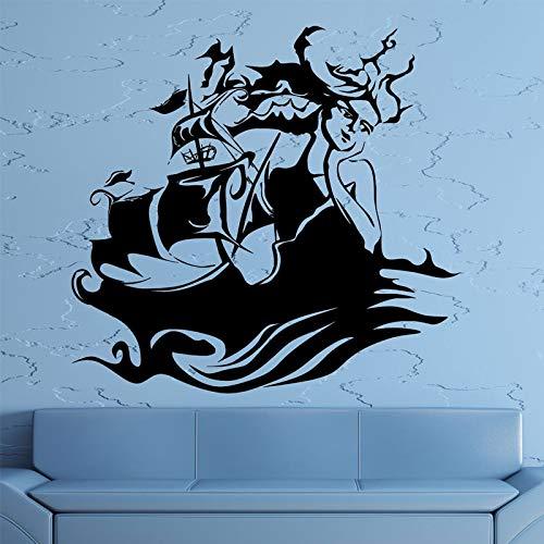 Nautical Home Decor Abstrakte Mädchen Gesicht Sirene Ozean Marine Schiff Meer Wandaufkleber Vinyl Aufkleber Wohnzimmer Selbstklebende Wandbild 60X57Cm