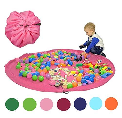 Funky Planet Bolsa de Almacenamiento de Juguetes para Lego, Bolsas de Organizador, Alfombra de Juego para niños de 60 Pulgadas (150 cm) - Organizador portátil de Juguetes para niños (Pink)
