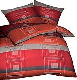 Kaeppel Biber Bettwäsche Quartetto Chili Rot Grau Anthrazit Karos, Größe:155x220cm Bettwäsche