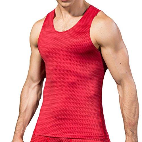 Styledresser uomo sportivo palestra muscolo formazione uomo tank top di compressione veste canotta fashion workout vest tank top elastico slim fast dry (rosso, xl)