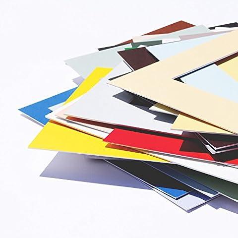Premium Passepartouts in Museumsqualität - 34 Farben in allen Größen - Reinweiß (Farbe) - (Außen: DIN A3 / für Bildgröße: DIN A4)
