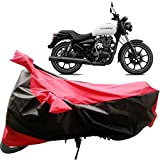#10: Adroitz Bike Covers, Bike Body Cover for Royal Enfield Thunderbird 350X Bike with Mirror Pocket and Wide Stripe in Matte Black & Red