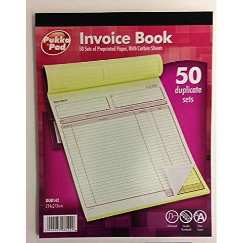 1 x Pukka Pad, formato A4, dimensioni: 214 x 273 mm)-Set di 50 blocchi copiativi per fatture con DU8142 a libro in fibra di carbonio - A4 In Fibra Di Carbonio