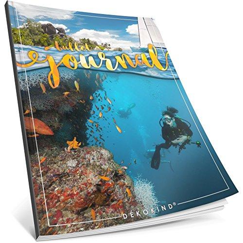 Dékokind® Bullet Journal: Ca. A4-Format • 100 Seiten, Punktraster Notizbuch mit Register • Dotted Grid Notebook, Punktkariertes Papier, Zeichenbuch • ArtNr. 34 Karibik • Vintage Softcover