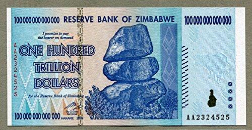 Zimbabwe 100 Trillionen Dollar Geldschein