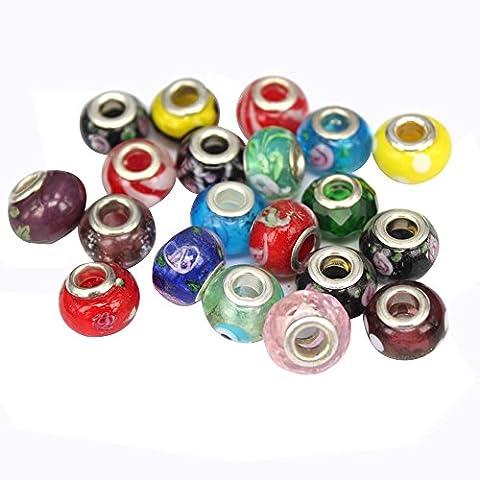 Contever® Lot de 100 pcs Charms de perles en Verre de Soufflé avec Strass pour Bijoux, Bracelets et Colliers