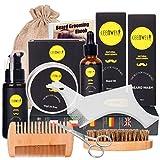 Beard Grooming Kit for Updraed 10 in 1 Beard Care Unique Gifts for Men, Beard Oil, Beard Brush, Beard Comb, Beard Balm, Beard Shampoo, Modelling Comb& Mustache Scissors Beard Growth & Trimming Kit