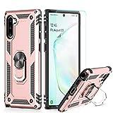 LeYi Funda Samsung Galaxy Note 10 Armor Carcasa con 360 Anillo iman Soporte Hard PC y Silicona TPU Bumper antigolpes Fundas Case para movil Note 10 con HD Protector de Pantalla,Oro Rosa