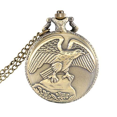 yeehao Vintage Schmuck Antik Adler Flügel Quarz Taschenuhr Halskette Anhänger Kette Uhr Geschenk - Bronze (Taschenuhr Halskette Flügel)