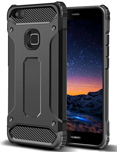Funda Huawei P10 Lite, Coolden High Pro Shield P10 Lite Funda Carcasa Protector Doble Capa TPU+PC Resistente a los arañazos Ajuste delgado Cover Choque Absorción Case para Huawei P10 Lite-Negro