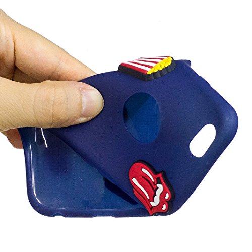 Etui iPhone 6 PLUS/6S PLUS Housse Souple de Protection Mignonne Cute Case OuDu **Motif 3D** Etui en Silicone Coque TPU Caoutchouc Etui Flexible Lisse Housse Ultra Mince Coque Poids Léger Soft Silicone Bleu foncé