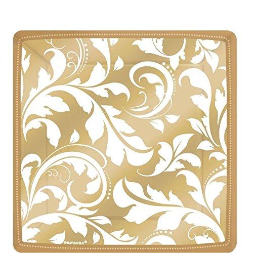 (Amscan International ltd Pappteller quadratisch gold mit Ornamenten)