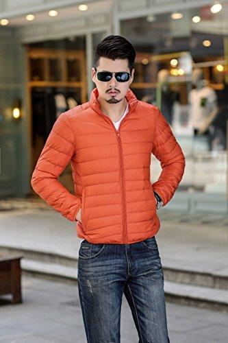 Quibine Homme Doudoune Léger Manteau Zipper Jacket Chaud D'hiver Orange