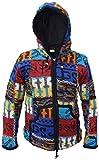 Giacca con cappuccio in doppia maglia di lana naturale da uomo, motivo patchwork, caldo pullover lavorato a maglia per campeggio, festival, avventure Bright Patch Medium