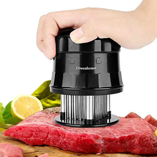 Meat Tenderizer Needle, DIWENHOUSE 56 Ultra Sharp Stainless Steel Blades with Safety Lock and Cleaning Brush, Professional Cookware Kitchen Gadget Tenderizing Steak Turkey Chicken Beef Fish Pork