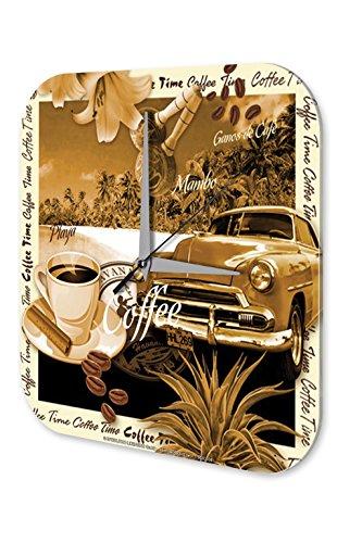 Wanduhr Welt Reise Marke Kuba Oldtimer Strand Kaffee Wand Deko Uhr 25x25 cm